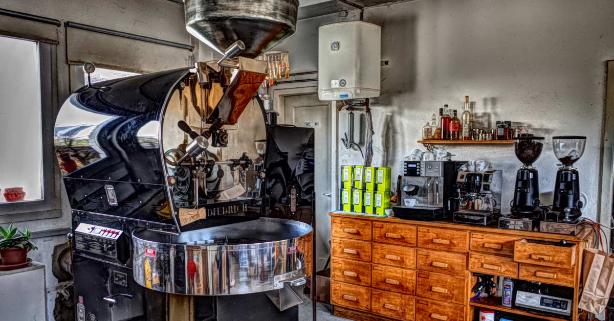 Caffè Barone - Röstmaschine in der Rösterei